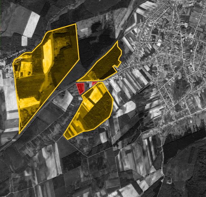 """A térképen sárgával jelölt területek az ipari park """"beavatkozási pontjai"""", köztük pedig - pirossal - Tasó telkei bújnak meg."""
